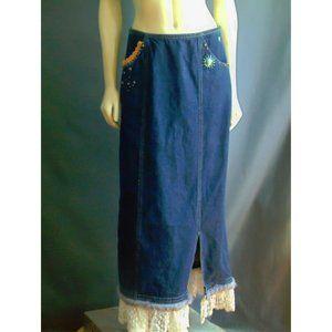 Double D Ranch Denim Lace Hem Maxi Skirt M
